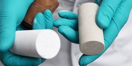 Chalk samples. A large part of the oil recovered in Denmark comes from underground chalk reservoirs in the Danish part of the North Sea. In the laboratories of DTU Chemical Engineering, researchers inject brines of different salinity into samples of chalk saturated with oil in order to push out the oil—a method known as 'smart water flooding'. The progress is then monitored using X-ray computer tomography scanning. Photo by Thorkild Christensen